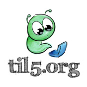 til5.org logo - busy worm working until 5 am