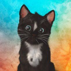 Shop Felini the cat Cute Head Tilt on Watercolor