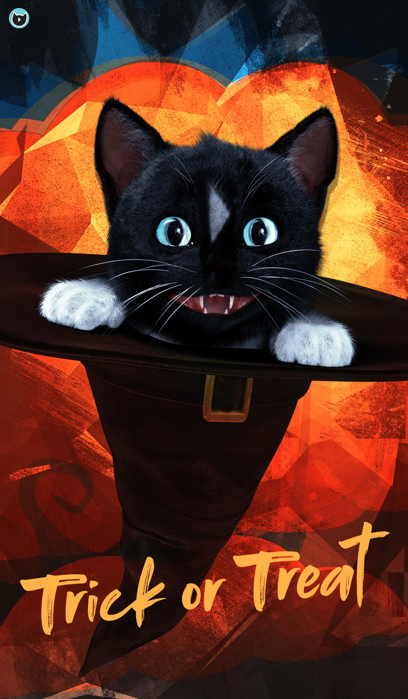 Cat in the hat - black cat Felini in witches hat trick and treating. Happy Halloween!