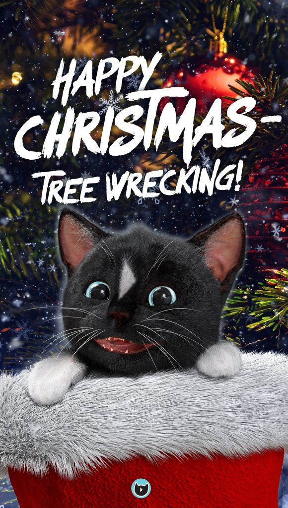 Felini the Cat in the hat - Xmas Santa Claws hat wishing Happy Christmastree wrecking to all cats